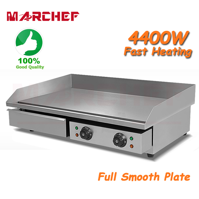 73 Cm 4400 W Komersial Electric Griddle Meja Dapur Hotplate Stainless Steel