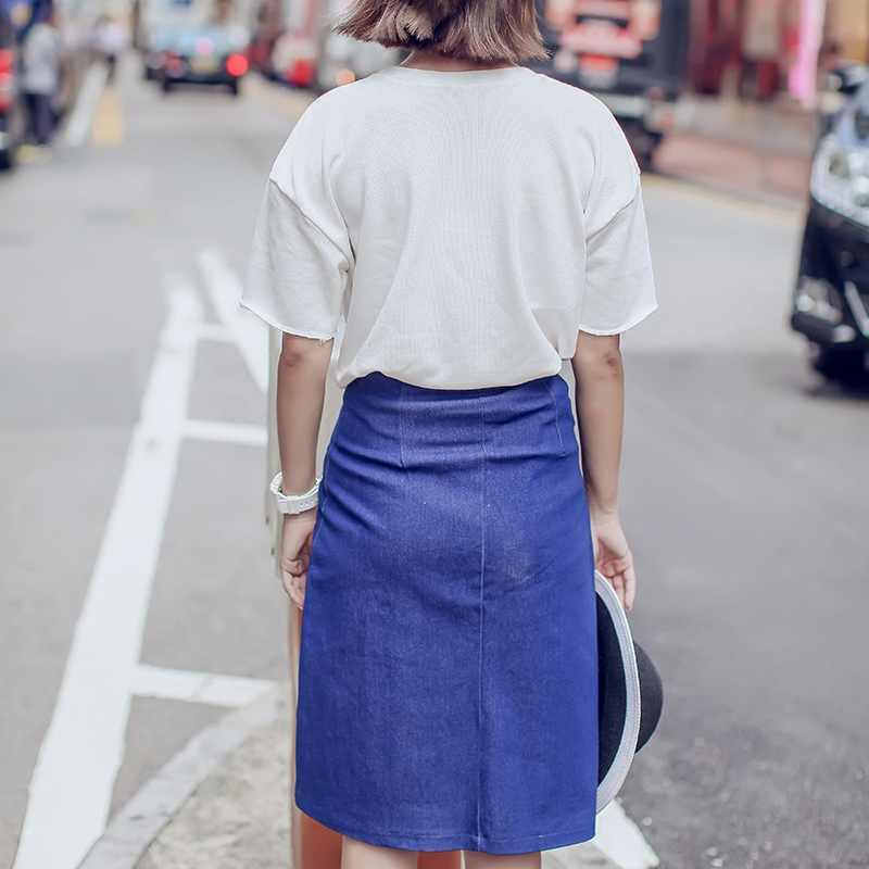 Mikialong Front Split Denim Skirt 2017 Vintage High Waist ...