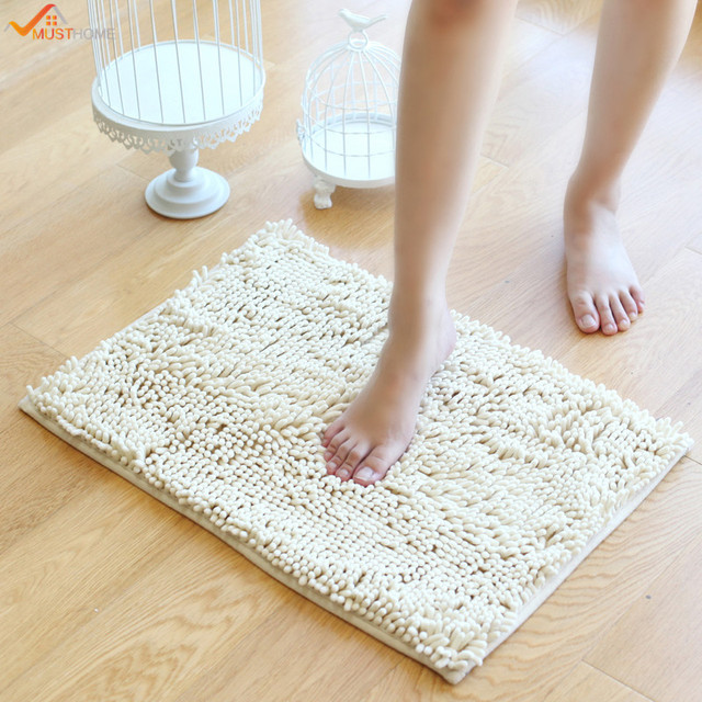 40 60cm Non Slip Bath Mat Microfiber Chenille Bathroom Rugs Carpet Shag Shower