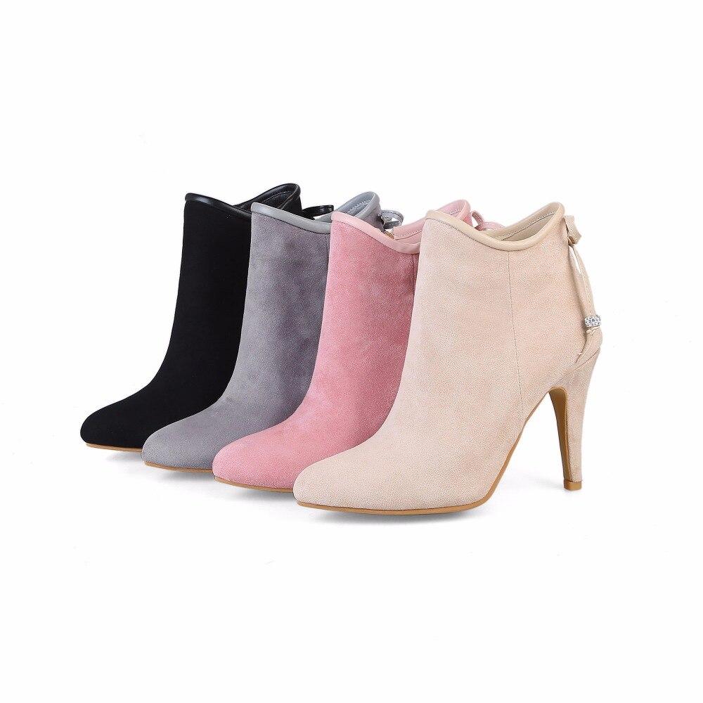 S. romans kobiety kostki buty Plus rozmiar 34 43 Zip wysokie szpilki obcasy Pointed Toe damskie czółenka damskie modne buty czarny szary SB028 w Buty do kostki od Buty na  Grupa 2