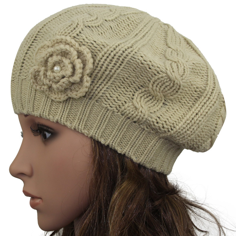 929354eed1d 2017 Women s Super Soft Flower Laciness Light Weight Thin Knit Beanie Hat  Spring Hat Autumn hats Fashion Cap-in Berets from Apparel Accessories on ...