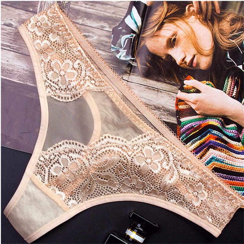 3 ピース/ロット絶妙な刺繍花女性の下着セクシーなストリングランジェリーファッション透明セックスパンティー Tバック女性ブリーフ