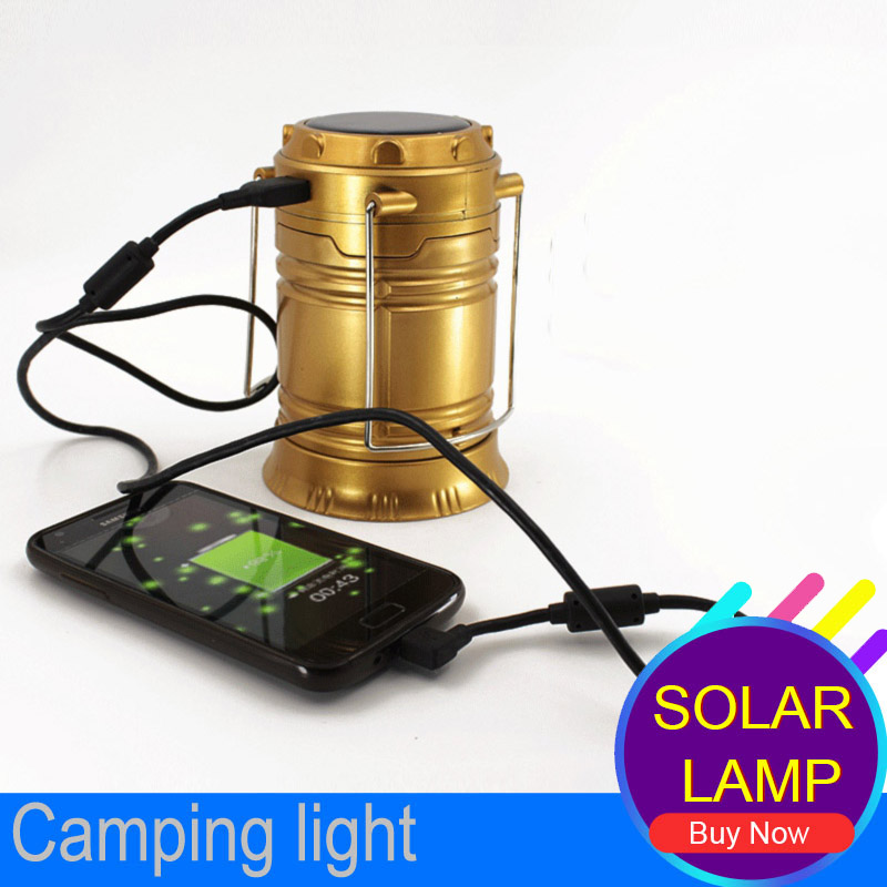 6 LEDs Rechargeable Hand Lamp Collapsible Solar Camping Lantern Tent Lights for Outdoor Lighting Hiking Camping