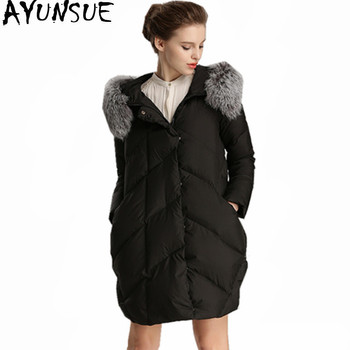 AYUNSUE Fashion Women's Down Jackets Fox Fur Collar Hooded Coat Women Winter Parka Padded Ladies Coats Casaco De Inverno WXF368