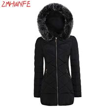 2017 Time-limited Full Zipper Broadcloth Solid Slim Pockets Ukraine Winter New Women 's Cotton Long Trousers Jacket Hooded