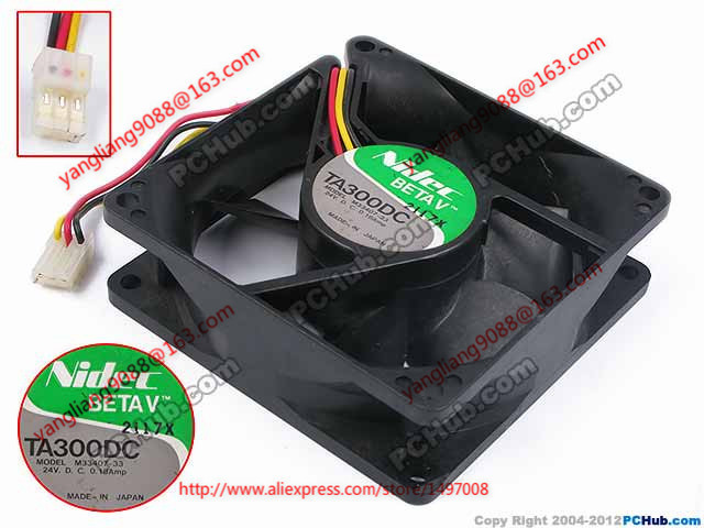 Nidec M33407-33 DC 24V 0.18A 80X80X25mm Server Square fan nidec ta350dc c35403 57 server square fan dc 24v 0 15a 92x92x25mm 3 wire