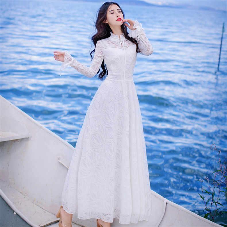 Haute qualité Explosions loisirs Vintage robes élégantes femmes broderie dentelle grâce à manches longues printemps été robe de soirée
