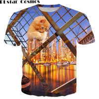PLstar Cosmos 2017 Summer Style Men Women Meowy Christmas Galaxy Space Pizza Cat 3d Print T