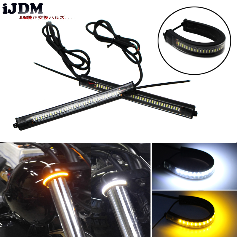 iJDM Switchback Red White/Amber 36-SMD 12v LED Front Rear Turn Signal Strip Lights DRL or Brake Lights for Car or Motorcycles 1 pair car led lights 12 24v drl head lights 8w turn light strip