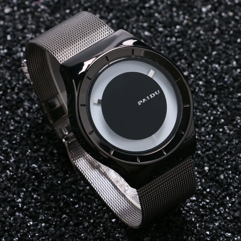 2017 New Arrival 2 Colors PAIDU Fashion Turntable Wrist Watch Full Mesh Stainless Steel Band Men Clock Gift relogio masculino цены