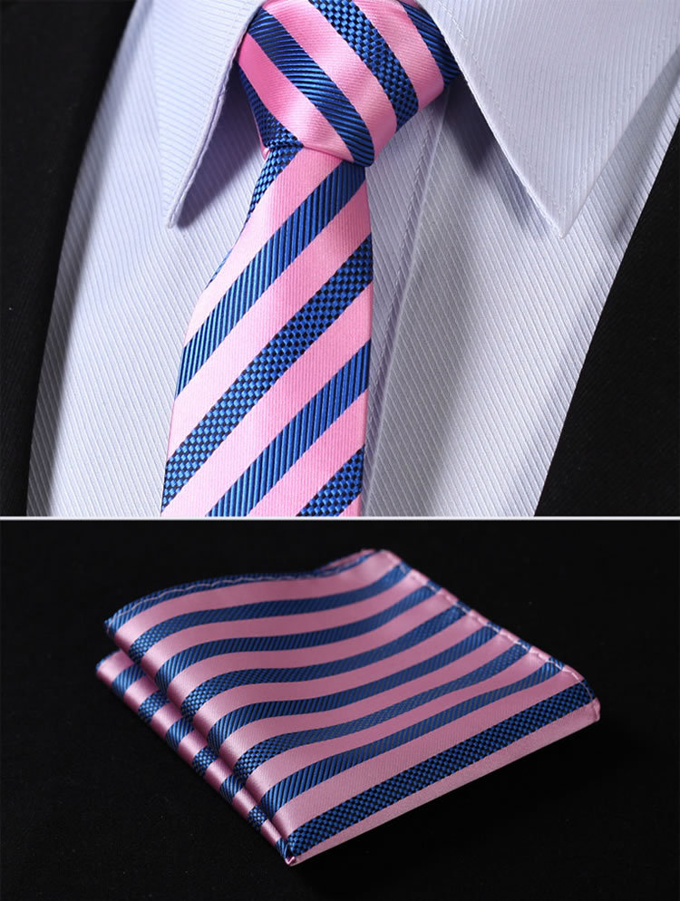 "TS2007K7 Pink Blue Stripe 2.75"" 100%Silk Woven Slim Skinny Narrow Men Tie Necktie Handkerchief Pocket Square Suit Set"