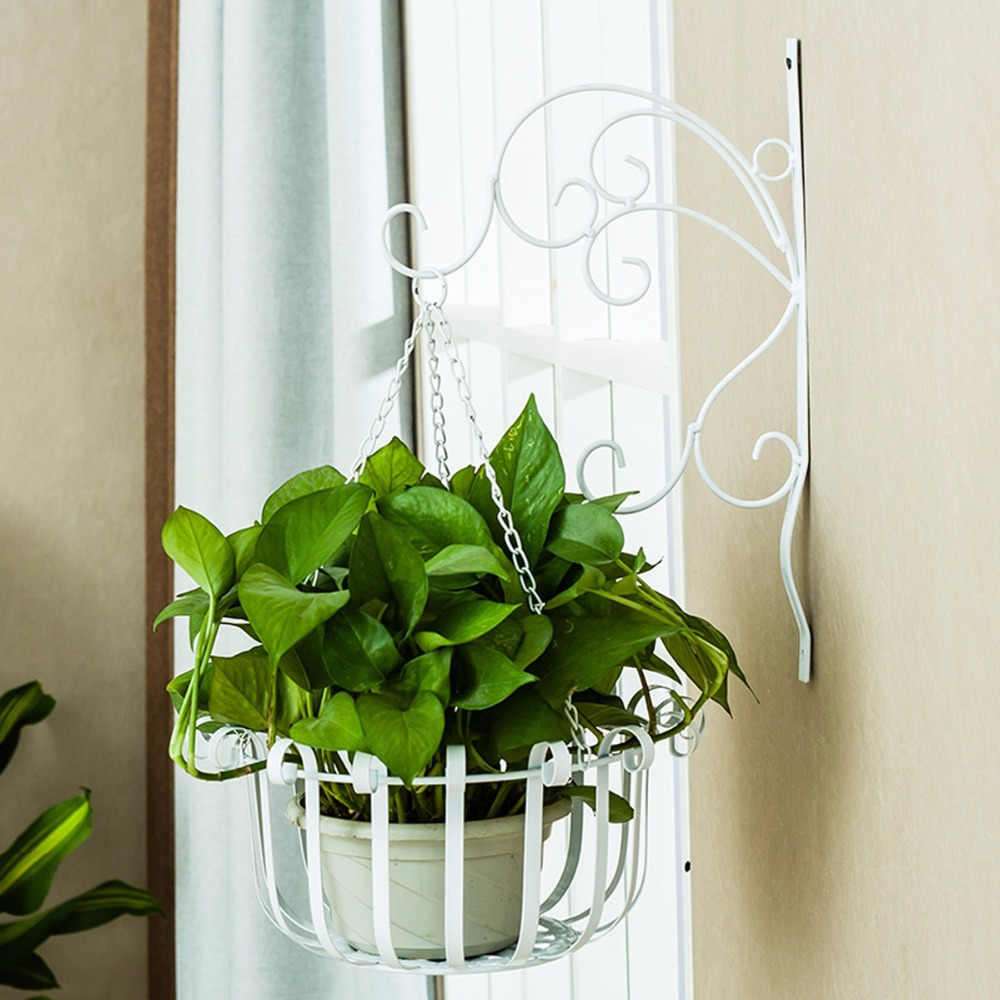 Creative iron wave flower stand balcony wall hanging for Diy wall plant holder