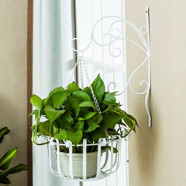 creative iron wave flower stand balcony wall hanging basket flower pot holder for wall flower. Black Bedroom Furniture Sets. Home Design Ideas