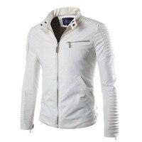 Белая кожаная куртка мужская подкладка полиэстер PU мотоциклетные замшевые куртки мужской Slim Fit Mens Quilted Стенд воротник Байкер пальто