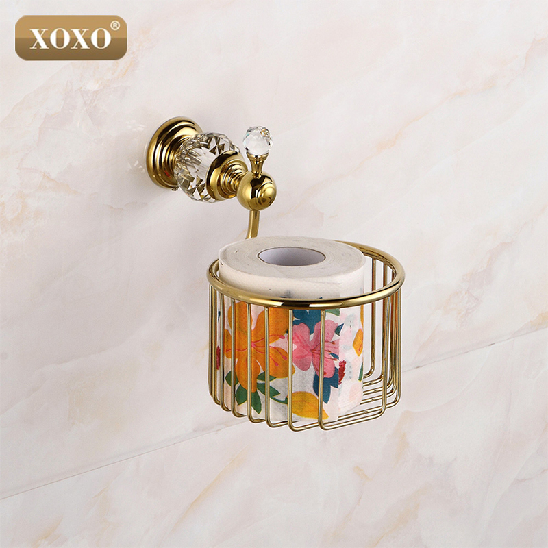 XOXO Golden Crystal Wall Mounted Bathroom Accessories Paper Holders Bathroom Basket 12083GS wall mounted golden crystal bathroom accessories crystal bathroom shelves of blue and white porcelain racks