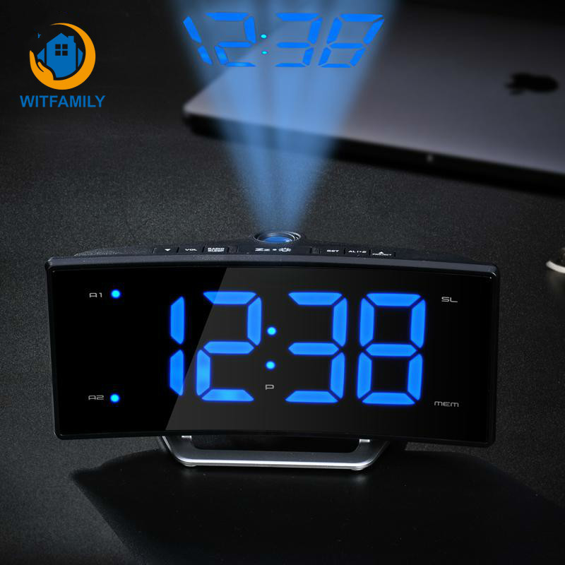 US $23.01 41% OFF|LED Electronic Projection Alarm Clock FM radio clock  Snooze display digital Nixie clock of bedroom decoration wake up watch-in  Alarm ...
