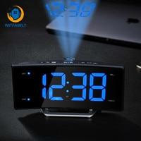 LED Electronic Projection Alarm Clock FM radio clock Snooze display digital Nixie clock of bedroom decoration wake up watch