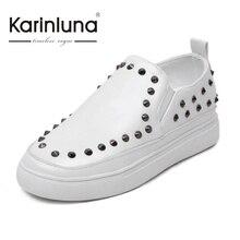 KARINLUNA 2017 Big Size 31-45 Fashion Rivets Slip On Women Loafers Comfort Rubber Sole Round Toe Woman Shoes Vulcanize Shoes