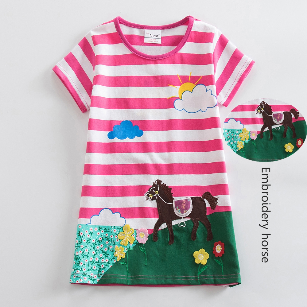 Girls short Sleeve Cotton Unicorn Dresses Kids Clothes Embroidered Spring Girl Kids Clothes Kids Dresses for Girls AS6499 5