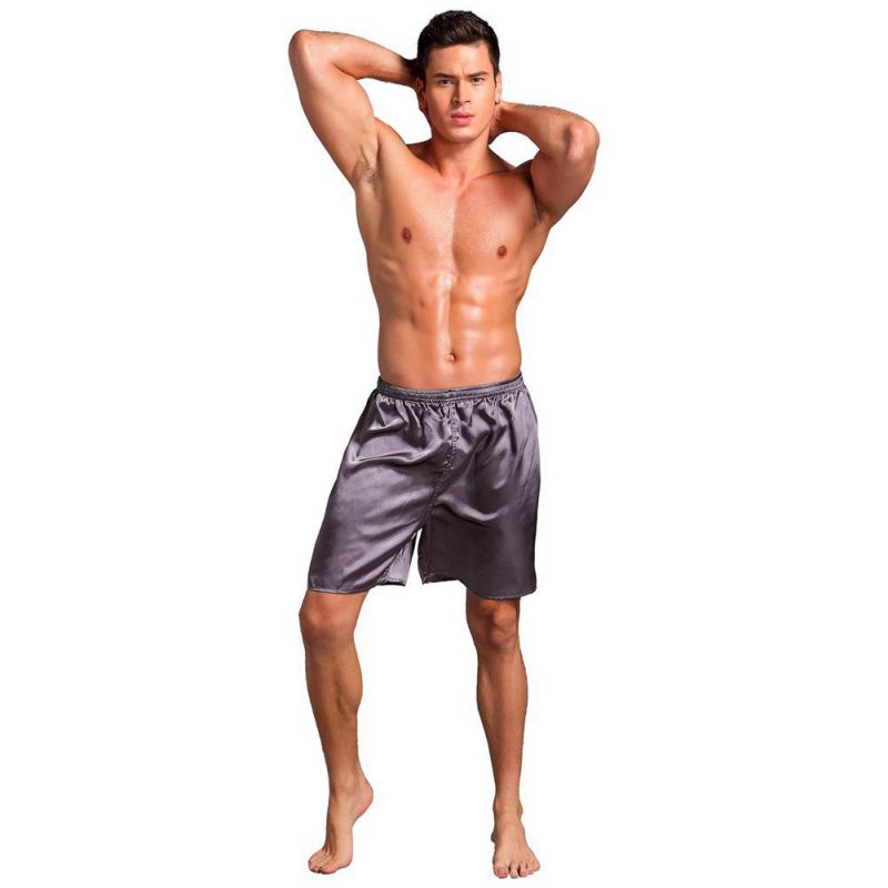 Men's Solid Color Thin Sleepwear Underwear Silk Satin Boxers Shorts Nightwear Pajamas