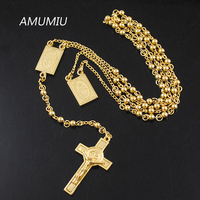 4mm Mens Chain Gold Silver Stainless Steel Bead Chain Rosary Jesus Christ Cross Pendant Long Necklace