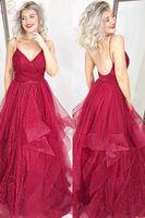 Wine Red Evening Dresses Elegant A Line Sleeveless Spaghetti Straps V neck Bling Sequined Floor Length Ruffles Formal Long Gowns