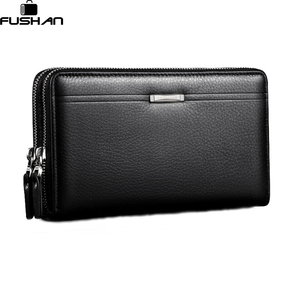 Fashion Brand Business Genuine Leather Men s Clutch Bag High Capacity Double Zipper Long Clutch Wallets