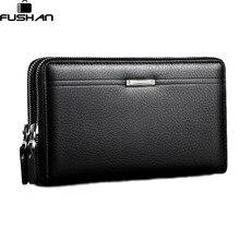 Mode Marke Geschäfts Echtes Leder männer Handtasche Hohe Kapazität Doppel-reißverschluss Lange Kupplung Brieftaschen Kartenhalter Geldbörse