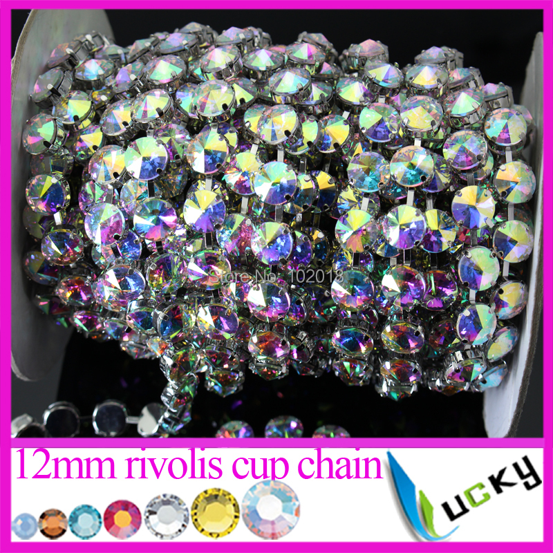 5 yards 12mm Stronggest Thickest round chain link with super shine Crystal ab Rivolis top quality