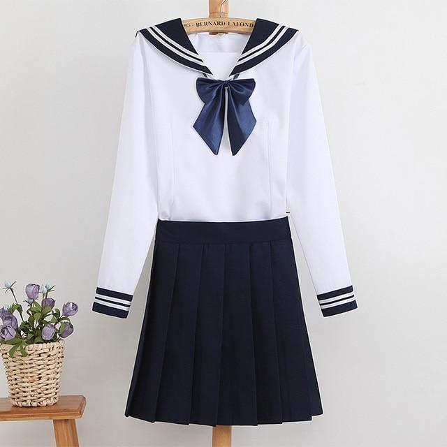 2016 Navy sailor collar style suit school uniform set T-shirt + skirt student Autumn uniforms female cosplay sailor Fuku Japan