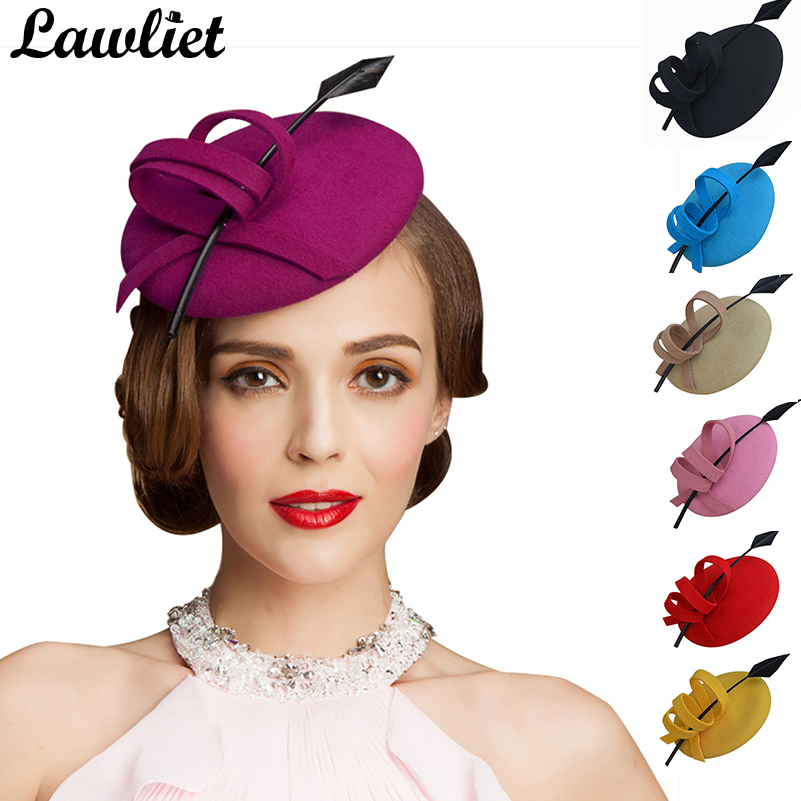 Women Fascinator Hats Ladies Solid Curly Feather Wool Felt Pillbox Hats Formal Tilt Cocktail Party Race Derby Wedding Headwear free shipping high quality 2015 mini disc flower sinamay fascinator with feather for race