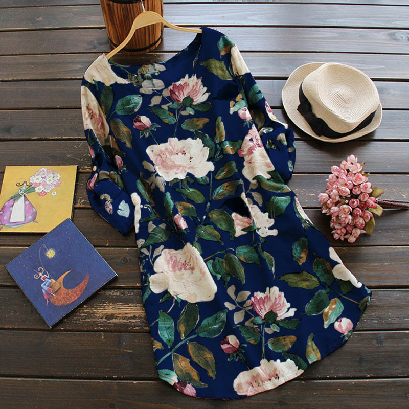 Women's Floral Print Mini Dress Summer Party Long Shirt Dress Cotton Linen Dress Plus Size Free Shipping