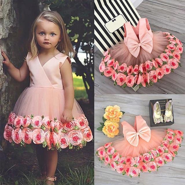 Girls Party Dresses V Neck with Bow kids dresses for girls Rose Decoration Edge Sleeveless Dress Children Wedding Dress