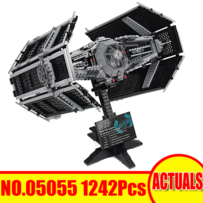 2018 New 1242Pcs Star Wars Model Building Kits Vader's TIE Advanced Fighter Blocks Bricks Set Toys For Children Compatible 10175 dhl lepin 05055 star series military war the rogue one usc vader tie advanced fighter compatible 10175 building bricks block toy