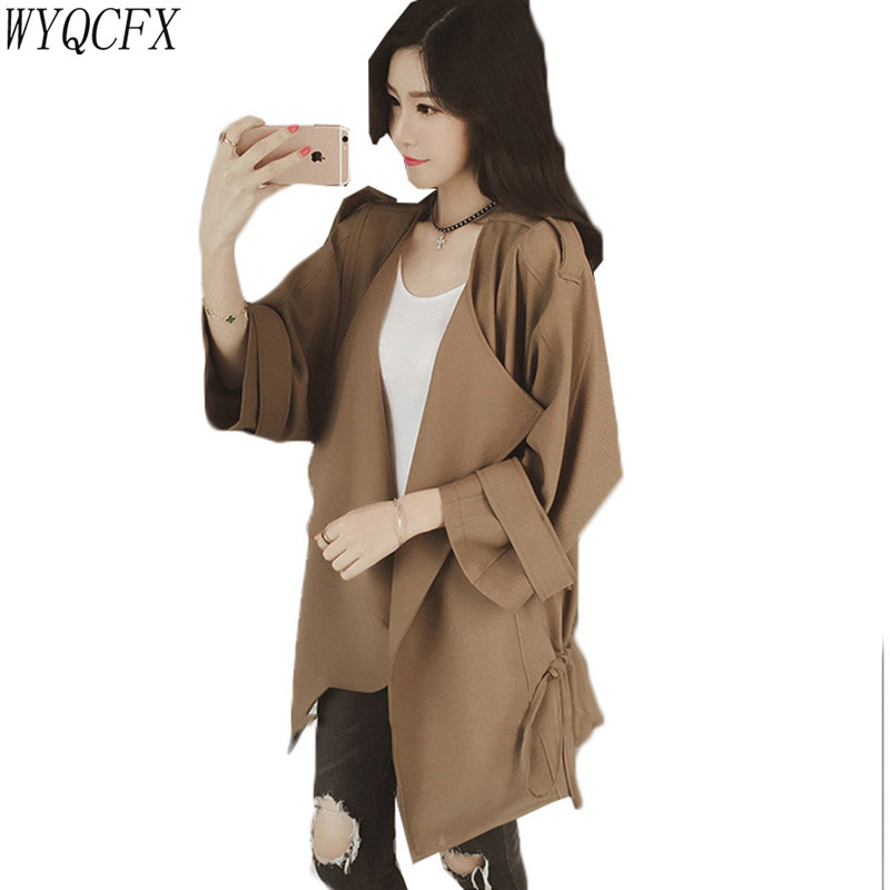 2019 Fashion Spring Autumn Windbreaker Women New Thin Loose Casual   Trench   Coat Batwing Sleeve Lace Up Female Cardigan Plus Size