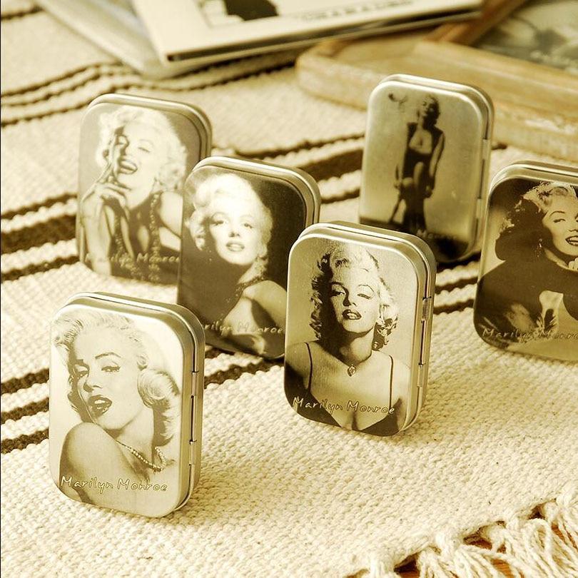 6pcs/lot Vintage classical Marilyn Monroe peninsula tin box jewelry storage bag cigarette case candy boxes HG002