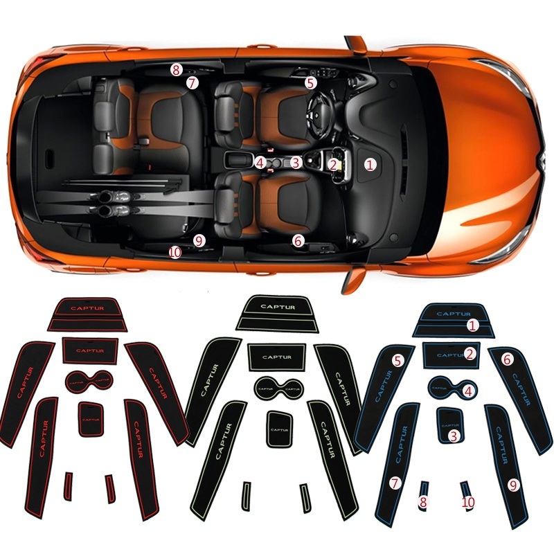 10pcs/set Garnish For Renault captur 2014 2015 2016 car styling Cup mat door anti-slip mat Interior modification Car Accessories