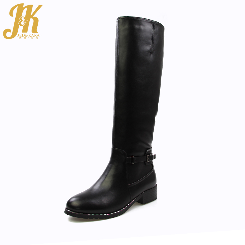 J&K 2017 Thick 650g Plush Warm Knee Boots Women High Quality Zipper Fur Winter Boots Fashion Chunky Heels Buckle Footwear Female