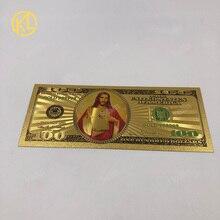 1 шт USD банкнота Христос Иисус 100 долларов США 100 золотой цвет фольга пластиковые банкноты для рождественских сувениров подарок