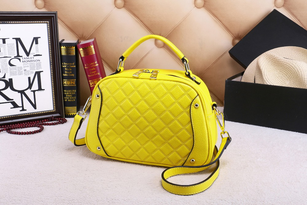 ФОТО 2016  genuine cowhide high quality leather Quilted  decoration women  messenger  single bag fashion style hot sale for girl