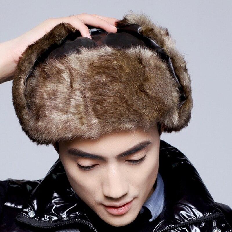 Winter Hats Bomber-Hat Russian-Hat Ushanka Trapper-Cap Ski-Earflap Warm Men for Fur HT2100
