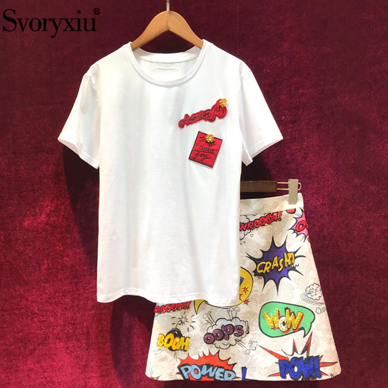 Svoryxiu Women s Summer Runway Skirt Suit White Cotton Short Sleeve Tees Beading letter Printed A