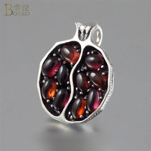 все цены на Vintage Silver Garnet Necklaces for Women Pomegranate Shape Pendant Necklace with Red CZ Stone Long Chain Statement Necklace онлайн