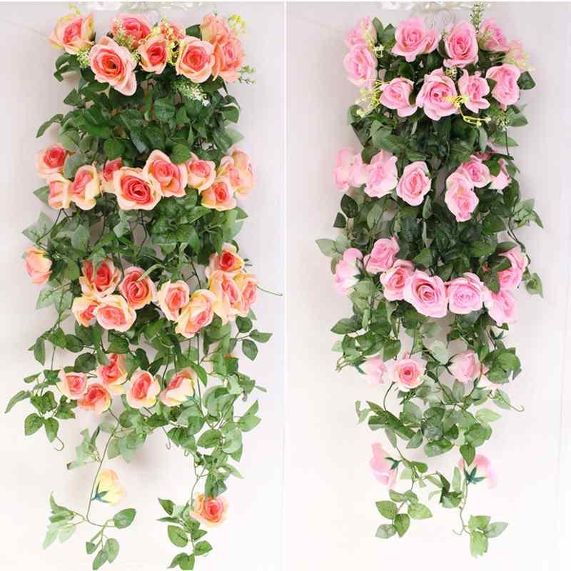 New 2.4m Artificial Fake Silk Rose Flower Ivy Vine Hanging Flower Garland For Wedding Decoration Party Home Decor