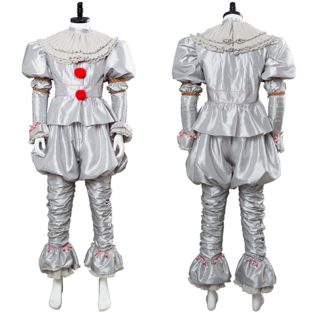 Hot Movie IT Pennywise Costume Cosplay Stephen King It Pennywise The Clown Costume Cosplay Full Suits Halloween Party Costume