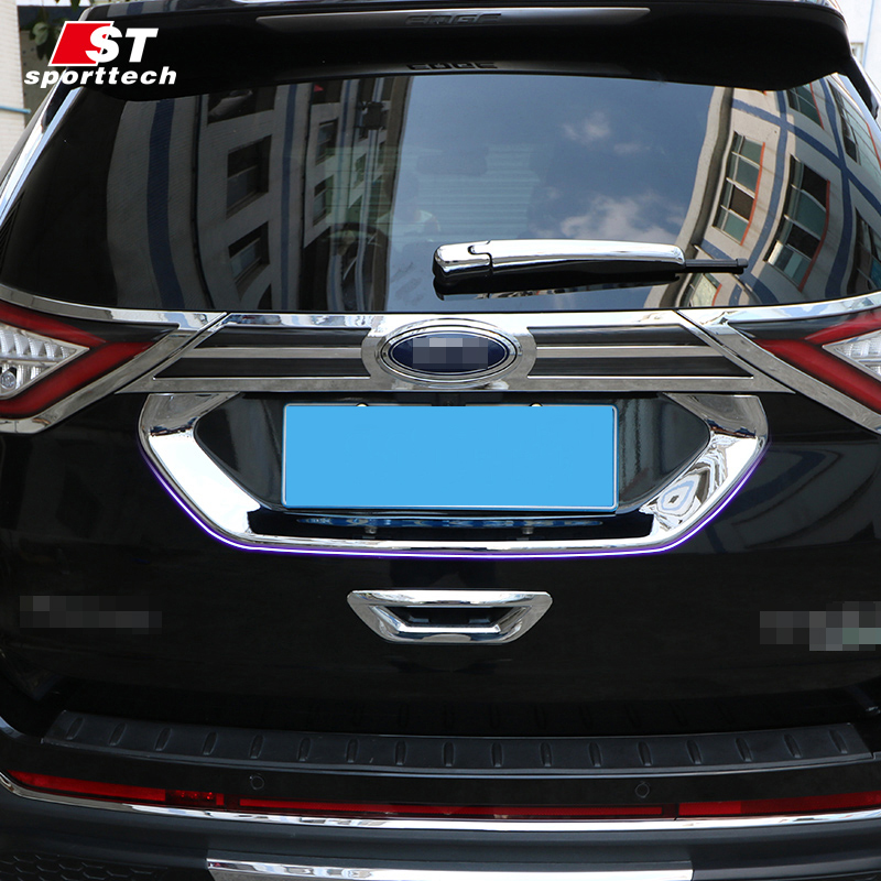 Car Trunk Trim Strip For Ford Edge ABS Chromium Styling Car Boot Cover 3D Stickers Cover For Ford Edge 2015 2016 Accessories  high quality car styling cover detector abs chromium tail back rear license frame plate trim strips 1pcs for su6aru outback 2015