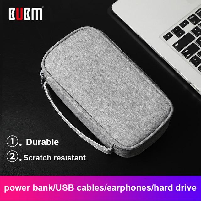 Caja portátil del Banco de la energía del viaje de BUBM bolsa HDD para el Banco de la energía del disco duro 10000 mAh cargador de batería externo USB cable