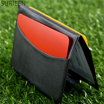 1PC Soccer Match Referee Supplies Red Card/Yellow Card Referee Game Appliances With Holster+Pen Football Equipment Pencil Wallet недорого