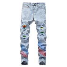 Men's Blue Fashion Jeans Hip-pop Ripped Skinny Distressed Destroyed Pants Stretch Straight Slim Fit Zipper Jeans Size 30-38