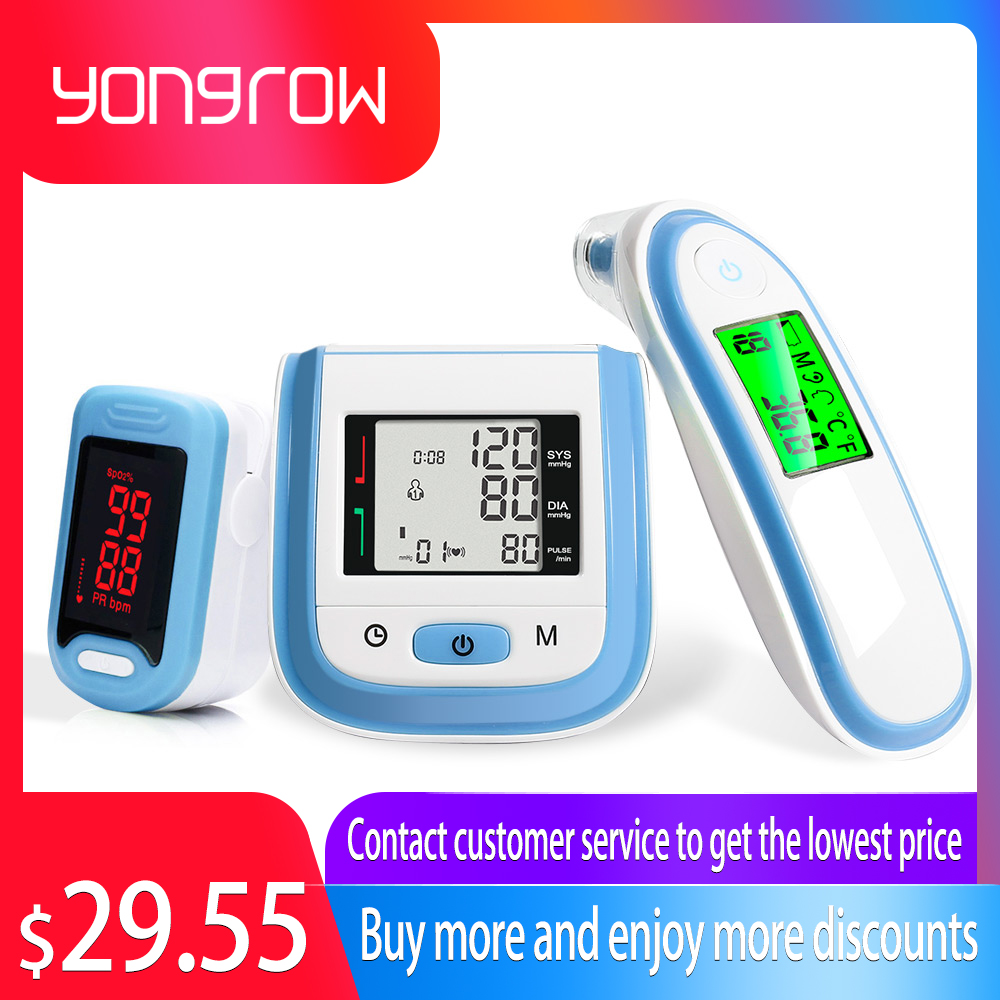 Oxímetro de Pulso Da Ponta Do Dedo Yongrow & Wrist Blood Pressure Monitor & Oxímetro de Orelha Do Bebê Termômetro Infravermelho Presente de Cuidados de Saúde Da Família